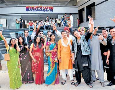 Cool: Students dressed in ethnic wear.