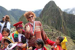 US actress Susan Sarandon reacts during the reopening of citadel of Machu Picchu in Cuzco, Peru on Thursday. AP