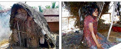 The  decrepit shack where Bhagya (right) was forced to live for the past five years. dh photo