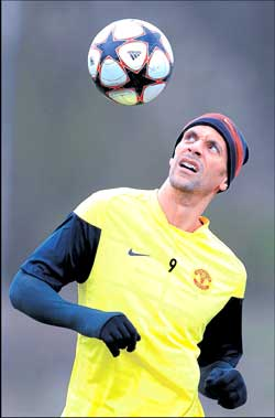 Rio Ferdinand of Manchester United during a practice session in Manchester on Tuesday. Reuters