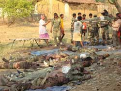 Dead bodies of paramilitary soldiers at Chintanar in Dantewada district of Chhattisgarh on Tuesday after a Maoists' attack. PTI