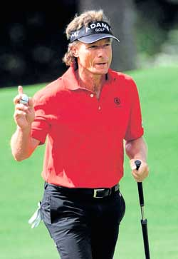 Germany's Bernhard Langer gestures during his opening round at the Augusta Masters on Thursday. AFP