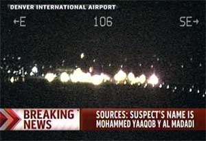 In this image taken from MSNBC video on Wednesday April 7, 2010, shows authorities responding to a plane disturbance on United Flight 663 at the Denver International Airport. AP