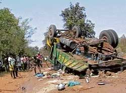 This is one of the scenes of many Maoist' violent attacks in which the victims are civilians. Twenty-four passengers were killed in the Maoists attack on a jam-packed truck carrying civilians near Darbhaguda in Chhattisgarh four years ago.