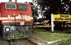 "The Delhi-Bhubaneshwar Rajdhani Express that was ""train-jacked"" by Maoists in West Bengal on October 27, 2009."
