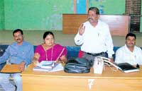 Head Count:  District nodal officer Anbanandan speaking at the training programme for enumerators in Chikkaballapur on Sunday. Tahsildar Poornima and assistant nodal officer Muddukumar are seen. DH photo