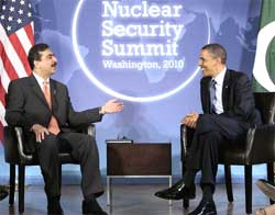 US president Barack Obama meets with Pakistani Prime Minister Syed Yusuf Raza Gilani in advance of the Nuclear Security Summit, at Blair House in Washington, on Sunday. AP