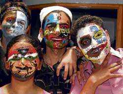 vibrant Participants of the face painting competition. dh photos by srikanta sharma