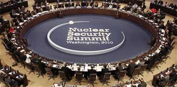 President Barack Obama delivers opening remarks to the participating members of the Nuclear Security Summit at the Plenary Session in Washington on Tuesday.AP