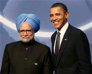 US President Barack Obama greets Prime Minister Manmohan Singh during an official welcome ceremony for the Nuclear Security Summit at the Washington convention centre on Monday. PTI