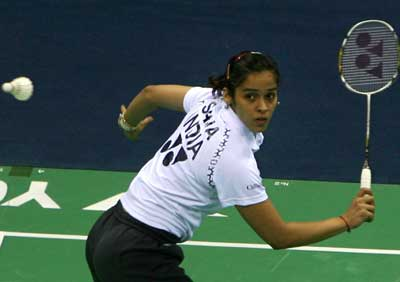Focussed: India's Saina Nehwal en route to her quarterfinal win over Malaysia's Mew Choo Wong on Friday. AP