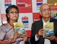 Maruti Suzuki India Chairman R C Bhargava and co-author journalist Seetha launching 'The Maruti Story' in Bangalore on Saturday. DH Photo
