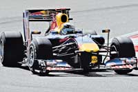 Raging bull:  Red Bull's Sebastian Vettel in action during the qualifying round of the Shanghai GP. AFP