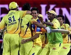 Chennai Super Kings players celebrate their victory during the IPL T20 match against Kings XI Punjab in Dharamshala on Sunday. PTI