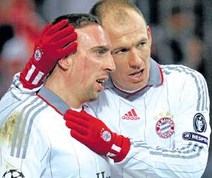 Awesome twosome: Bayern Munich need their two big guns Arjen Robben (right) and Franck Ribery fire from all cylinders against Lyon in the Champions League semifinals to be held in Munich on Thursday. AFP