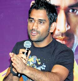 Captain cool: Dhoni interacts with the media on Friday. PTI