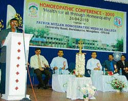 Indian System of Medicine and Homoeopathy Director G N Sreekantaiah speaking after inaugurating Homoeopathic Conference at Father Muller Homoeopathic Medical College in Deralakatte on Saturday. dh photo