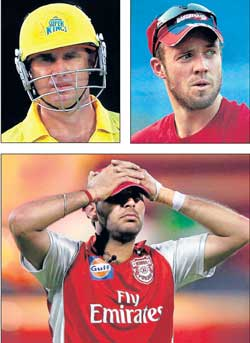 Matthew Hayden (top, left), AB de Villiers (top, right) and Yuvraj Singh had a forgettable IPL III.