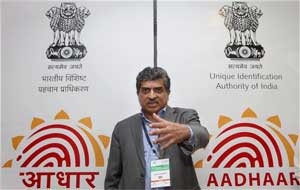 Nandan Nilekani, Chairman, UIDAI at the unveiling of the brand name- 'AADHAAR' and its logo in New Delhi on Monday. The name 'AADHAAR' communicates the fundamental role of the number issued by the UIDAI. PTI