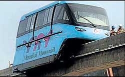 Is this what Bangalore is in for? A monorail car on the track during a trial run in Mumbai. AFP file photo