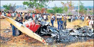 The wreckage of the light transport aircraft Saras which crashed near Bidadi, 40 km from Bangalore. DH Photo