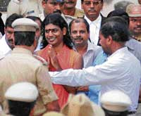 Before the law: Nithyananda being brought to a court in Ramanagara. dh photo