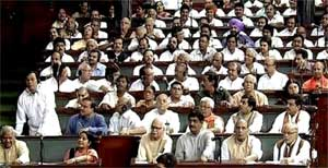 Opposition BJP members during the Cut Motion debate in the Lok Sabha on Tuesday. PTI