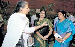 Union Minister for I&B Ambika Soni with MoS for HRD Purandeshwari Devi (right) outside the Parliament House after a Lok Sabha session in New Delhi on Tuesday. PTI