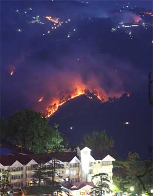 A view of the forest fire adjoining the hills of Shimla town in Himachal Pradesh. IANS