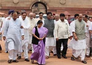BJP Parliamentary Party chairman L.K. Advani along with party MPs from both the Houses coming out of Rashtrapati Bhavan after submitting a memorandum to President Pratibha Patil regarding the alleged misuse of CBI by the Union Government, in New Delhi on Friday. PTI