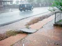 Heavy rains lashed Moodbidri on Sunday evening.