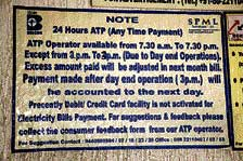 A notice at ATP counter on MG Road.