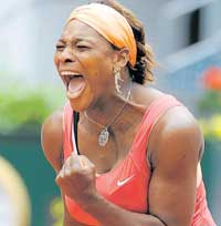War cry: Serena Williams of the United States is ecstatic after beating Russia's Vera Dushevina in the Madrid Open tennis tournament on Monday. AFP
