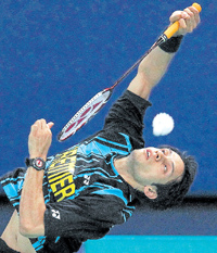 Agile: India's Kashyap Parupalli en route to his win over Australia's Jeff Tho in their Thomas Cup match. AP