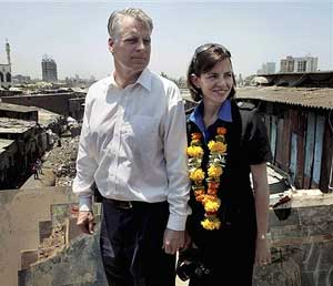 U. S. Ambassador Timothy J Roemer along with his wife Sally visiting Dharavi slum in Mumbai on Tuesday. PTI