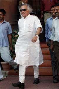 Environment and Forest Minister Jairam Ramesh comes out of the North Block after a meeting with Union Home Minister P Chidambaram in New Delhi on Wednesday. PTI
