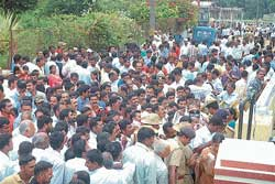 A large crowd in front of the counting station at the St Joseph's Convent in Madikeri. dh photo