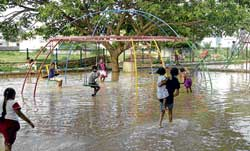 game or gamble Children play in the rain-filled park in Tatanagar. DH photo