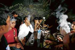 Dum maro dum: A file photo of youth enjoying smoke from a hookah at a bar in the City.