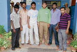 In the net: The six accused held in the Palani murder case. dh photo