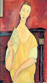 "Amadeo Modigliani's ""Woman with a Fan"" which is one of the five works that a lone thief stole in a brazen heist from the Paris Museum of Modern Art. AP"