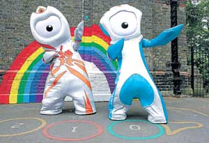 London Olympics mascot Wenlock (left) and Paralympic mascot Mandeville during their launch at St Paul's School in East London on Thursday. AFP
