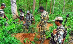 Security personnel checking a forest area a day after Maoists blew up a CRPF vehicle killing five persons near Lalgarh in West Midnapore district of West Bengal on Thursday. PTI