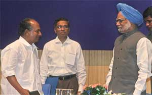 Prime Minister Manmohan Singh with Defence Minister A K Antony during DRDO Awards function in New Delhi on Wednesday. PTI