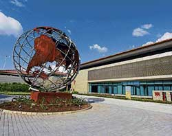 GREEN MODEL The entrance of the Suzlon One Earth campus, with the globe. Pic courtesy: Suzlon