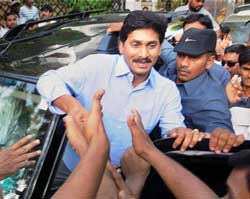 Congress MP Y S Jaganmohan Reddy begins his Odarpu yatra to Warangal district in Hyderabad on Friday. PTI