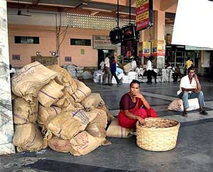A woman waits at a bus terminal during a bandh called by pro-Telengana activists in Hydrabad on Saturday. PTI