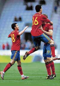 Spanish players celebrate their 3-2 win over Saudi Arabia in a World Cup friendly at Innsbruck. AFP