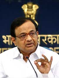 Home Minister P Chidambaram interacts with journalists at the monthly press conference of his ministry in New Delhi on Monday. PTI