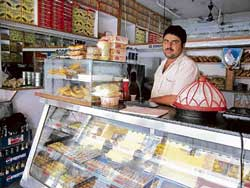 The shop sells a variety of Rajasthani and Bengali sweets among other goodies.